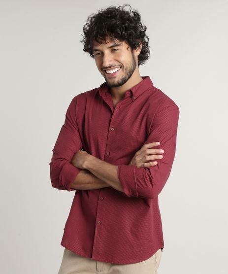 Camisa-Masculina-Comfort-Fit-Estampada-Xadrez-Manga-Longa--Vermelha-9523415-Vermelho_1