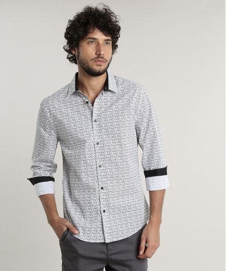 Camisa-Masculina-Slim-Fit-Estampada-de-Folhagem-Manga-Longa--Branca-9516951-Branco_1