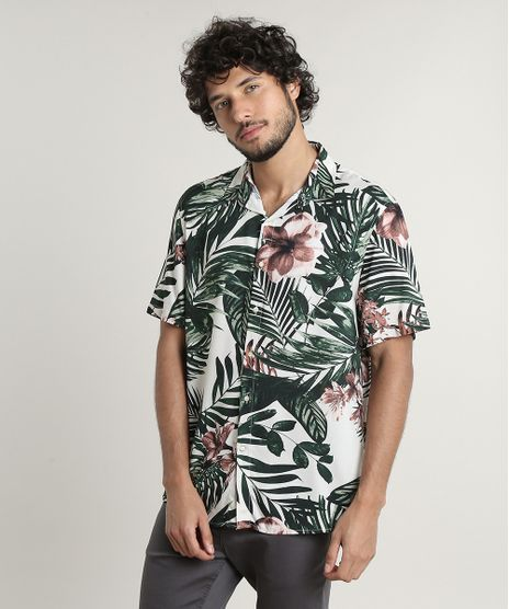 Camisa-Masculina-Tradicional-Estampada-Tropical-Manga-Curta-Bege-Claro-9639680-Bege_Claro_1