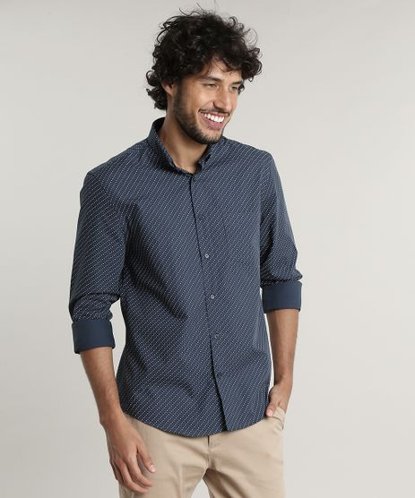 Camisa-Masculina-Slim-Fit-Mini-Print-Manga-Longa--Azul-Marinho-9515019-Azul_Marinho_1