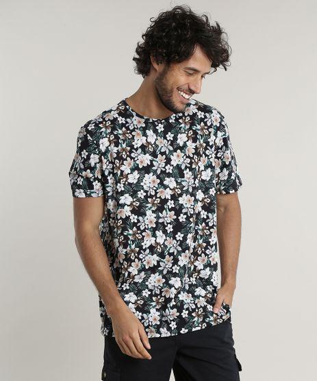 Camiseta-Masculina-Comfort-Estampada-Floral-Manga-Curta-Gola-Careca--Preta-9607436-Preto_1