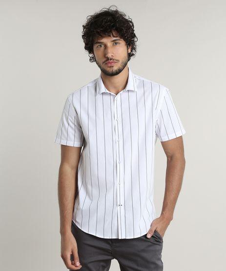 Camisa-Masculina-Tradicional-Listrada-Manga-Curta-Branca-9516957-Branco_1