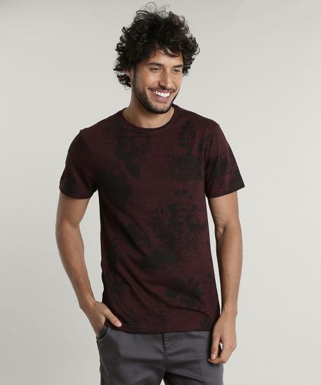 Camiseta-Masculina-Slim-Fit-Estampada-Floral-Manga-Curta-Gola-Careca-Vinho-9676946-Vinho_1