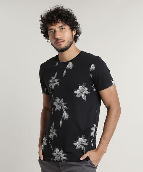 Camiseta-Masculina-Slim-Fit-Estampada-Floral-Manga-Curta-Gola-Careca-Preta-9676907-Preto_1