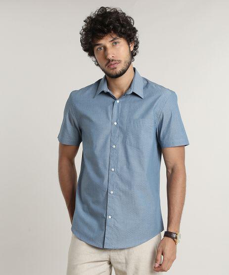 Camisa-Masculina-Comfort-Maquinetada-Estampada-de-Poa-Manga-Longa-Azul-9515014-Azul_1