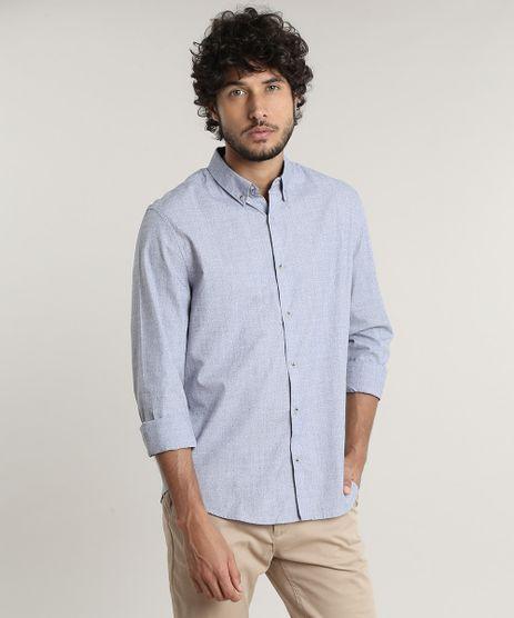 Camisa-Masculina-Comfort-Fit-Estampada-de-Bolinhas-Manga-Longa--Azul-9533303-Azul_1