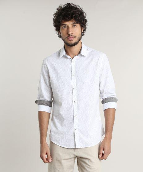 Camisa-Masculina-Slim-Fit-Estampada-Mini-Print-Manga-Longa--Branca-9523394-Branco_1