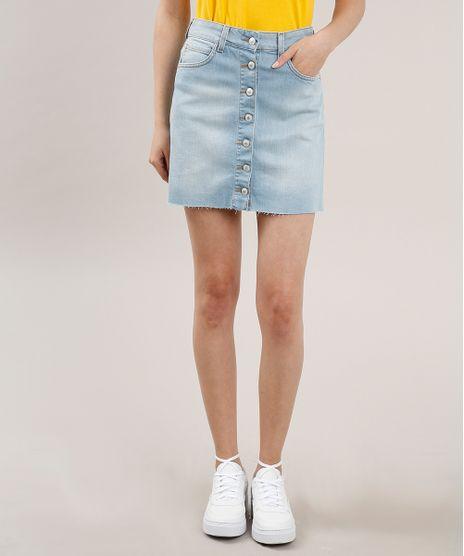 Saia-Jeans-Feminina-Curta-com-Botoes-Azul-Claro-9760936-Azul_Claro_1
