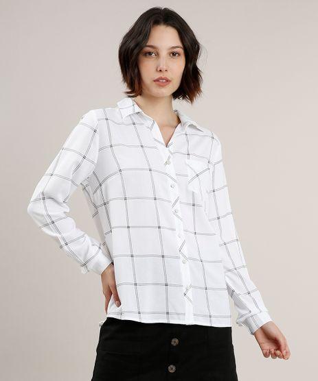 Camisa-Feminina-Estampada-Quadriculada-com-Bolso-Manga-Longa-Off-White-9626097-Off_White_1