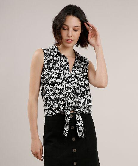 Camisa-Feminina-Estampada-de-Coqueiros-com-Bolso-e-No-Sem-Manga-Preta-9626993-Preto_1