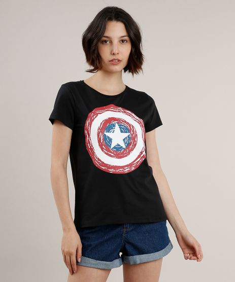 Blusa-Feminina-Capitao-America-Manga-Curta-Decote-Redondo-Preta-9328865-Preto_1