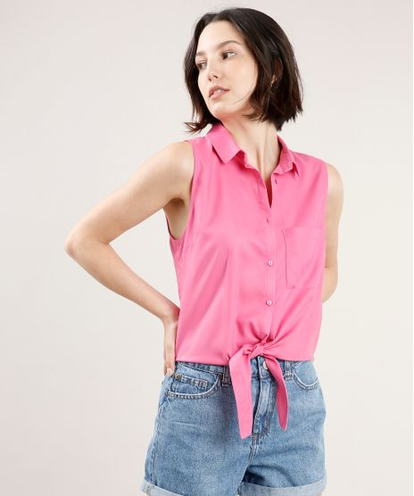 Camisa-Feminina-com-Bolso-e-No-Sem-Manga-Rosa-9626994-Rosa_1