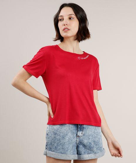 Blusa-Feminina-Ampla-com-Bordado--Dreamer--Manga-Curta-Decote-Redondo-Vermelha-9704508-Vermelho_1