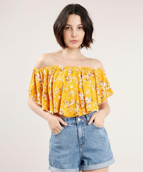Blusa-Feminina-Ciganinha-Cropped-Estampada-Floral-Manga-Curta-Mostarda-9708498-Mostarda_1