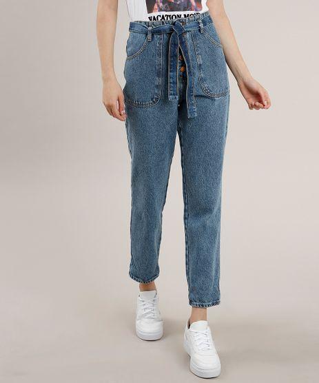 Calca-Jeans-Feminina-Mom-Clochard-com-Faixa-para-Amarrar-Azul-Medio-9756061-Azul_Medio_1