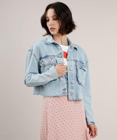 Jaqueta-Jeans-Feminina-Cropped-com-Bolsos-Azul-Claro-9666377-Azul_Claro_1