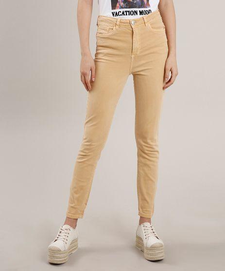 Calca-de-Sarja-Feminina-Skinny-Cintura-Alta-Amarela-9762679-Amarelo_1