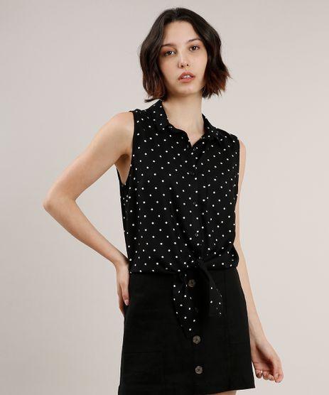 Camisa-Feminina-Estampada-de-Poa-com-Bolso-e-No-Sem-Manga-Preta-9626992-Preto_1