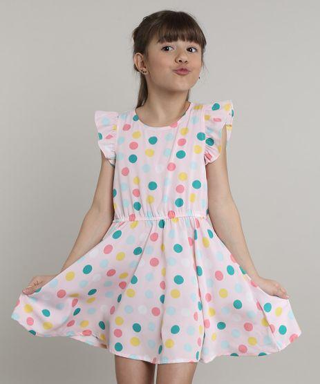 Vestido-Infantil-Estampado-de-Poa-com-Babado-Manga-Curta-Rosa-Claro-9548970-Rosa_Claro_1