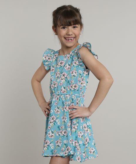 Vestido-Infantil-Estampado-Floral-com-Babado-Manga-Curta-Azul-9548966-Azul_1