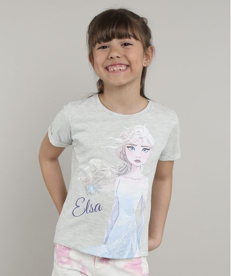 Blusa-Infantil-Elsa-Frozen-com-Glitter-Manga-Curta--Cinza-Mescla-Claro-9680982-Cinza_Mescla_Claro_1