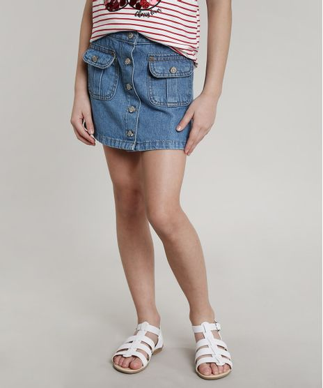 Saia-Jeans-Infantil-com-Botoes-e-Bolsos-Azul-Claro-9654557-Azul_Claro_1
