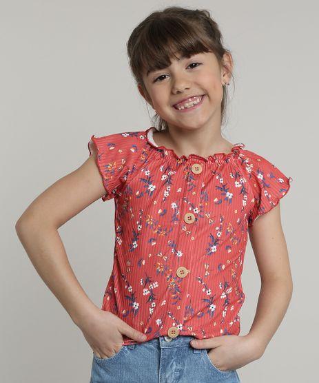 Blusa-Infantil-Feminina-Estampada-Floral-Canelada-com-Botoes-Manga-Curta-Vermelho-9675161-Vermelho_1