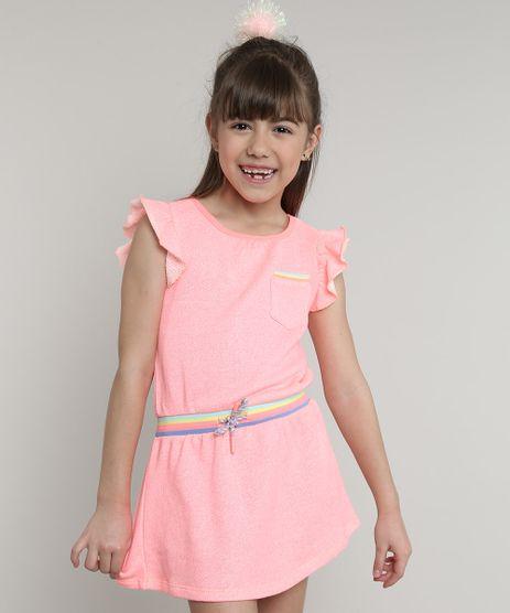 Vestido-Infantil-com-Bolso-e-Cordao-Manga-Curta-Rosa-Neon-9580646-Rosa_Neon_1