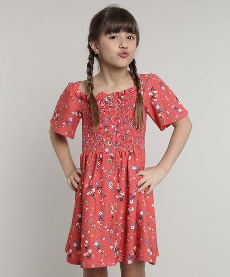 Vestido-Infantil-com-Linho-e-Botoes-Estampado-de-Natureza-Manga-Curta--Vermelho-9662527-Vermelho_1