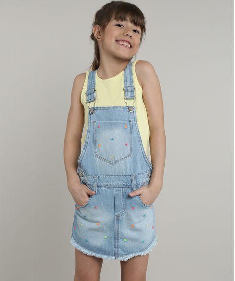 Jardineira-Short-Saia-Jeans-Infantil-com-Bordado-Neon-Azul-Claro-9638825-Azul_Claro_1