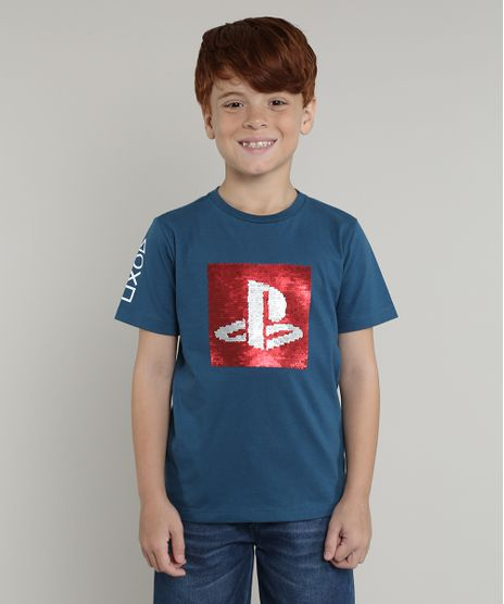Camiseta-Infantil-Playstation-com-Paete-Dupla-Face-Manga-Curta-Azul-9673092-Azul_1