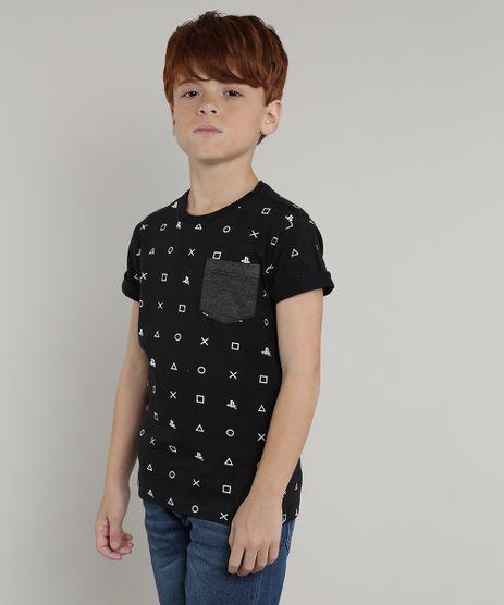Camiseta-Infantil-PlayStation-com-Bolso-Manga-Curta-Preto-9660948-Preto_1