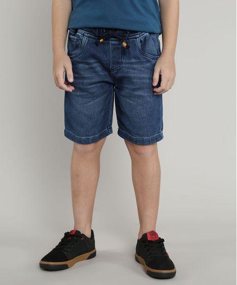 Bermuda-Jeans-Infantil-em-Moletom-com-Cordao-Azul-Medio-9660118-Azul_Medio_1