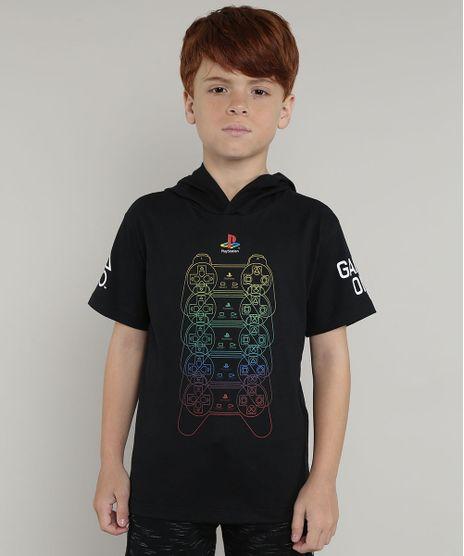 Camiseta-Infantil-PlayStation-com-Capuz-Manga-Curta-Preta-9660725-Preto_1