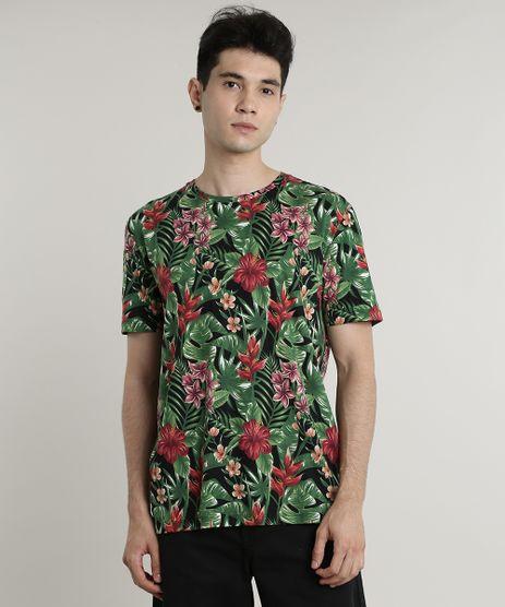 Camiseta-Masculina-Estampada-Floral-Manga-Curta-Gola-Careca-Preta-9646851-Preto_1