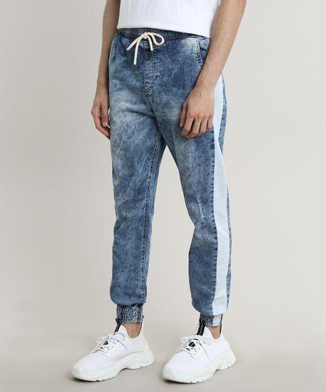 Calca-Jeans-Masculina-Jogger-com-Faixa-Lateral-Azul-Claro-9531772-Azul_Claro_1