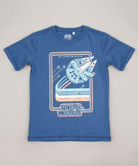 Camiseta-Infantil-Star-Wars-Millennium-Falcon-Manga-Curta-Azul-9675699-Azul_1