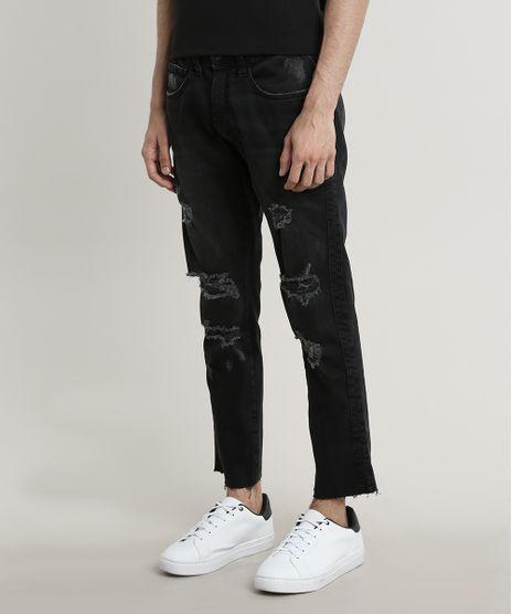 Calca-Jeans-Masculina-Slim-Destroyed-Barra-Desfiada-Preta-9689298-Preto_1