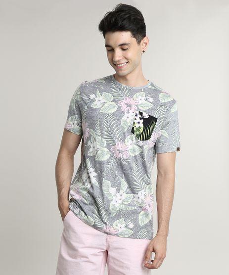 Camiseta-Masculina-Estampada-Floral-com-Bolso-Manga-Curta-Gola-Careca-Preta-9648955-Preto_1