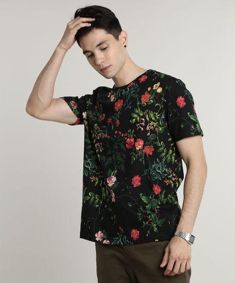 Camiseta-Masculina-Estampada-Floral-Manga-Curta-Gola-Careca-Preta-9607060-Preto_1
