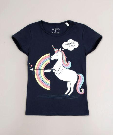 Blusa-Infantil-Unicornio--Throwing-Magic--Manga-Curta-Azul-Marinho-9107641-Azul_Marinho_1