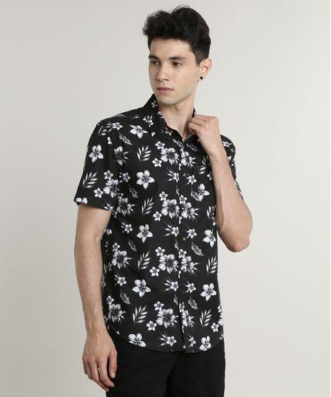 Camisa-Masculina-Tradicional-Estampada-Floral-com-Bolso-Manga-Curta-Preta-9514513-Preto_1