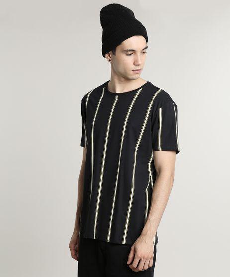 Camiseta-Masculina-Listrada-Manga-Curta-Gola-Careca-Preta-9676925-Preto_1