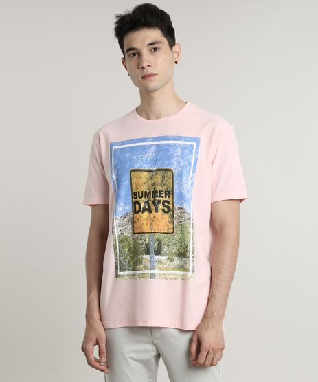 Camiseta-Masculina--Summer-Days--Manga-Curta-Gola-Careca-Rosa-9645373-Rosa_1