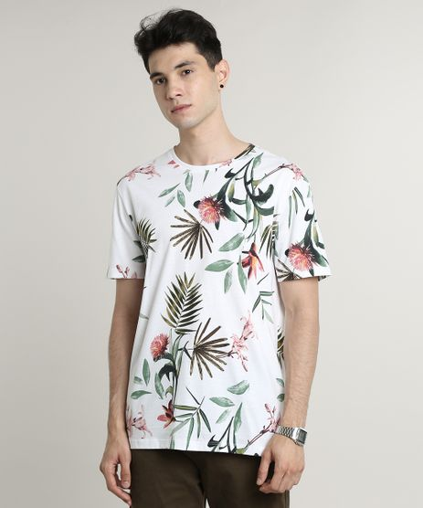 Camiseta-Masculina-Estampada-Floral-Manga-Curta-Gola-Careca--Off-White-9597460-Off_White_1