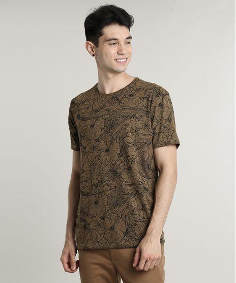 Camiseta-Masculina-Estampada-Floral-Manga-Curta-Gola-Careca-Caramelo-9649041-Caramelo_1