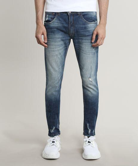 Calca-Jeans-Masculina-Skinny-com-Puidos-Azul-Escuro-9689299-Azul_Escuro_1