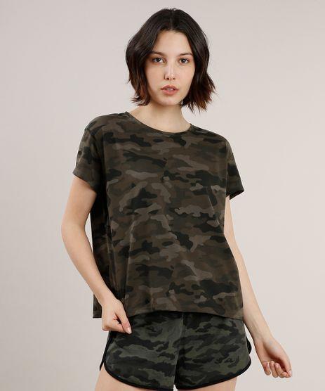 Blusa-Feminina-Estampada-Camuflada-Manga-Curta-Decote-Redondo-Verde-Militar-9257467-Verde_Militar_1