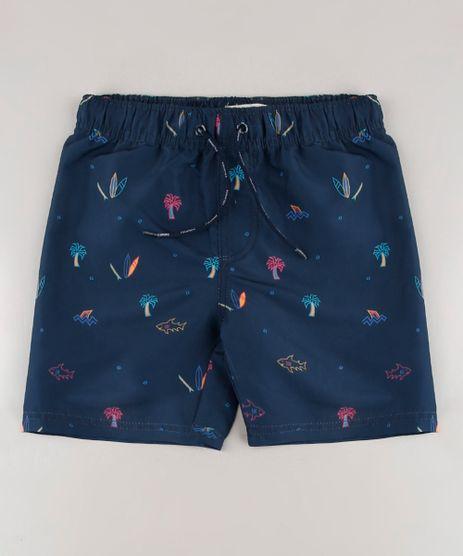 Bermuda-Surf-Infantil-Estampada-Praia-com-Cordao-Azul-Marinho-9559534-Azul_Marinho_1