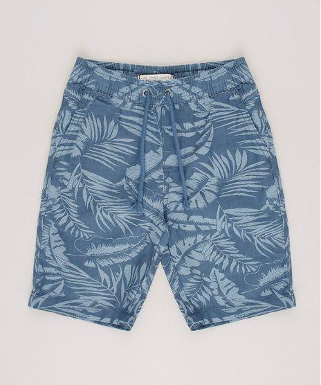 Bermuda-de-Sarja-Infantil-Estampada-de-Folhagem-com-Cordao--Azul-9690564-Azul_1